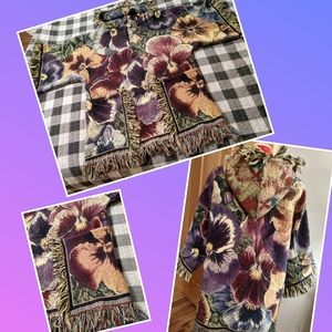 Upcycled pansy blanket hoodie top M-L festival